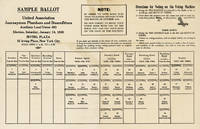 [Drop title] Sample Ballot: United Association Journeymen Plumbers and Steamfitters / Auxiliary Local Union 463 / Election, Saturday, January 14, 1939