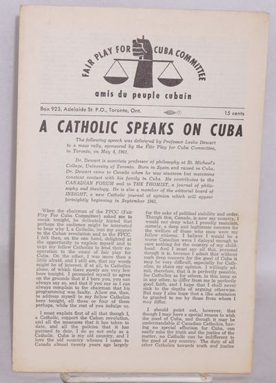 Toronto: Fair Play For Cuba Committee, 1961. Pamphlet. 6p., wraps, minor browning on edges else very...