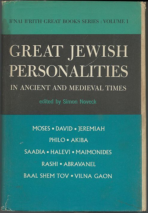 GREAT JEWISH PERSONALITITES-IN ANCIENT AND MEDIEVAL TIMES, Noveck, Simon editor