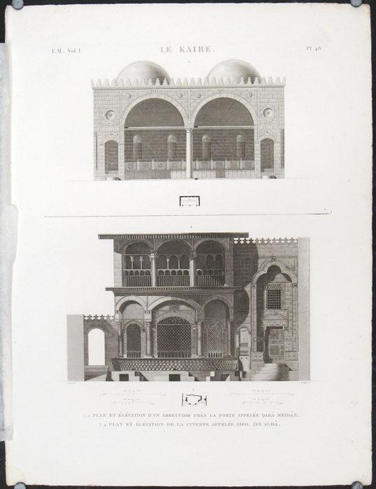 Elevation D Un Plan Archi : Le kaire plan et elevation d un abreuvoir pres la porte