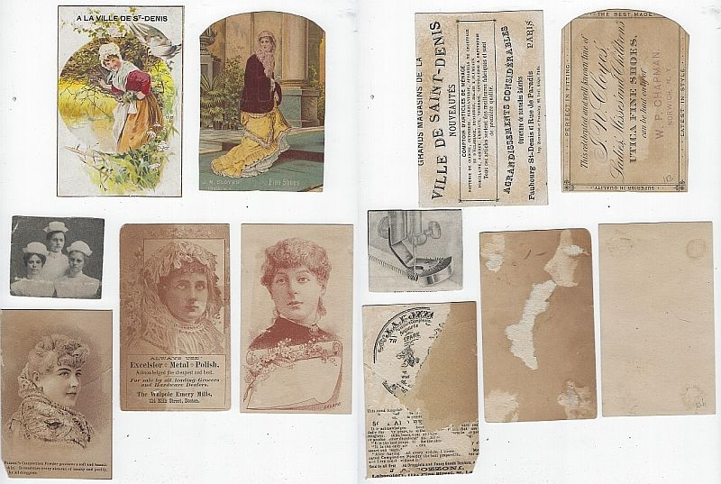 LOT OF SIX SCRAP VICTORIAN TRADE CARDS FEATURING LADIES, Advertisement