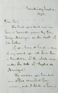"Autograph Letter, signed(""Henry W. Longellow""), in answer to an unidentified recipient, discussing his (Longfellow's) translation of ""Las coplas"" of the Spanish poet, Jorge Manrique"
