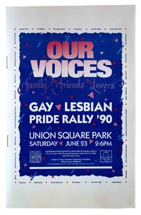 Our Voices: Family Friends Lovers Gay Lesbian Pride Rally '90 [Cover Title]