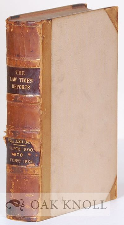 London, England: Horace Cox, 1891. half leather, cloth. Law. small 4to. half leather, cloth. xciv, 8...