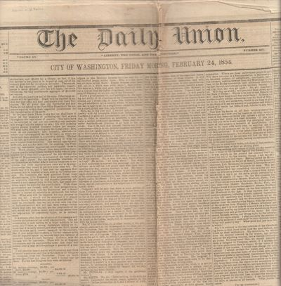 Washington, D. C: Robert Armstrong. Good. 1854. Newspaper. Large format newspaper 24 x 19 inches wit...