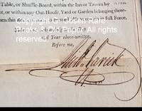 image of New York Innkeeper's License 1796 Signed by New York City Mayor Richard Varick.