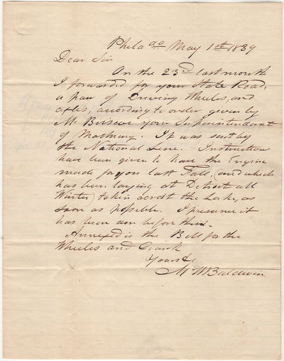 An autograph signed letter from Matthias Baldwin to the State Commission for the Central Rail Road T...