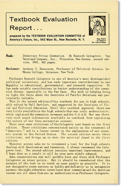 New Rochelle, NY: Textbook Evaluation Committee of America's Future, n.d., 1961. First Edition. Octa...