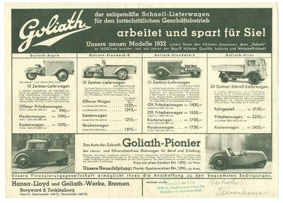 Bremen: Hansa-Lloyd und Goliath-Werke Borgward & Tecklenborg, 1932. Very good. Broadside; oblong 8 1...