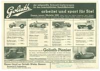 [Automobiles] Goliath der zeitgemase Schnell-Lieferwagen fur then fortschrittlichen Geschaftsbetrieb arbeitet und spart fur Sie! (Advertising Broadside and Price List)