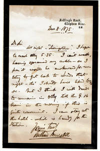 image of AUTOGRAPH LETTER ABOUT AN OUT-OF-TOWN ENGAGEMENT SIGNED BY BRITISH NONCONFORMIST MINISTER AND THEOLOGIAN ARTHUR MURSELL.