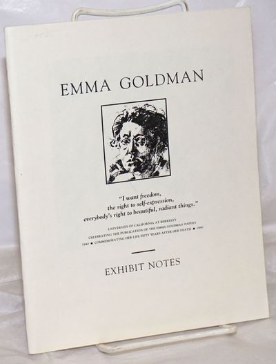 Berkeley: The Emma Goldman Papers Project, 1990. 37p, staplebound wraps, 6.75x8.5 inches, illustrate...