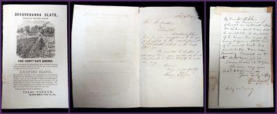 Slate Hill, PA: Susquehanna Slate, February 1859. General wear. Missing corner. . The item is two le...