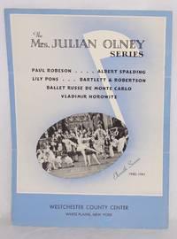 The Mrs. Julian Olney series. Paul Robeson, Albert Spalding, Lily Pons, Bartlett and Robertson, Ballet Russe de Monte Carlo, Vladimir Horowitz