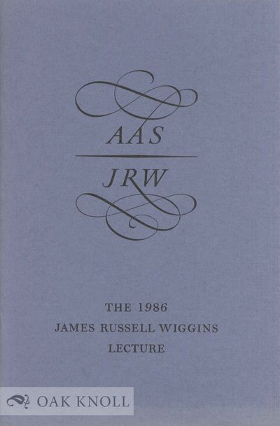 Worcester, MA: American Antiquarian Society, 1987. stiff paper wrappers. 8vo. stiff paper wrappers. ...