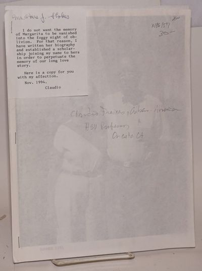 : Self-published by the author, 1994. 12p. 8.5x11 inch sheets stapled along left side, photo-copy, i...