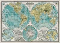 "Cavallini Decorative Paper - Hemispheres Vintage Map 20""x28"" Sheet"