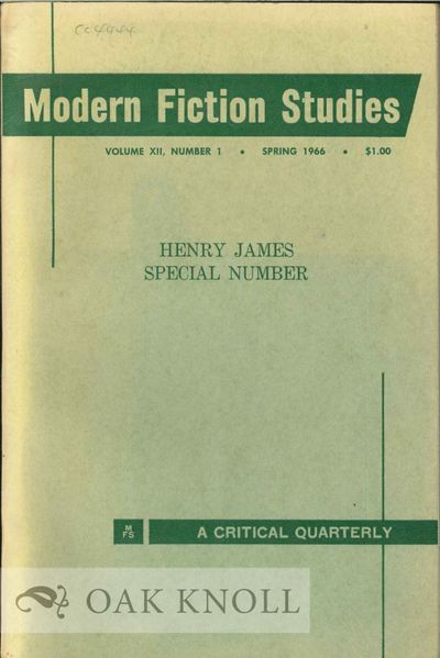 (Lafayette, Indiana): Modern Fiction Club, 1966. stiff paper wrappers. James, Henry. 8vo. stiff pape...