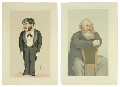 """Vanity Fair: March 14, 1874, and February 1, 1879. Four leaves 10 1/4 x 15"""", two color lithograph ..."""