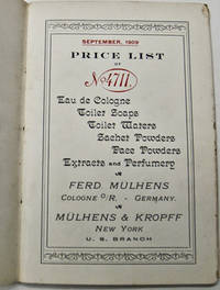 Price List of No. 4711 Colognes, Perfumes and Toilet Waters, September 1909