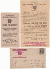 BULL DURHAM TOBACCO PROMOTES AN INFALLIBLE PILE CURE, THE REMEDY OF THE 19TH CENTURY!  CERTAIN AND SPEEDY RELIEF GUARANTEED TO THOSE SUFFERING WITH HEMORRHOIDS; Packet of quack medicine advertising for a hemorrhoid cure enclosed in its illustrated advertising envelope