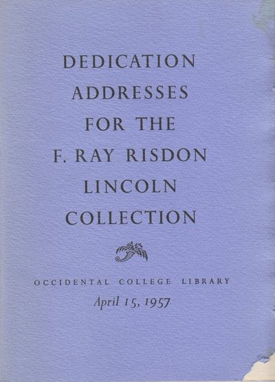 Los Angeles, CA: Occidental College Library. Good. 1957. Softcover. Printed at the Ward Ritchie Pres...