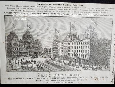 Grand Union Hotel, New York City, January 18, 1883. Autograph letter, ink on paper, signed