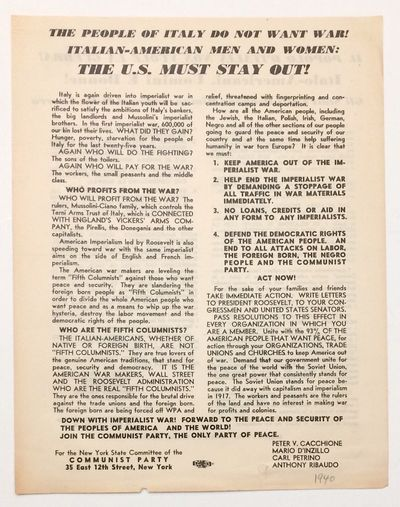 New York: Communist Party, NY State Committee, 1940. 8.5x11 inch handbill, English on one side, Ital...