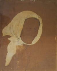 "Original charcoal and gouache drawing of an old woman wearing a white head scarf, 9 ½ x 13 inches, on brown paper, inscribed ""Your sincere friend Mina Loy"", undated but circa 1949-1952"