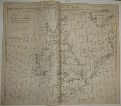 London: James Knapton, 1728. Sea Chart. Uncolored engraving. An alternate projection of the globe as...