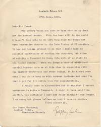 2 Typed Letter Signed to the Revd. Sir James Marchant, 1867-1956, (Dr Geoffrey, 1887-1972, Baron Fisher of Lambeth, Archbishop of Canterbury 1945-1961)