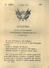 con cui si istituisce presso il Governo della Provincia di Milano un\'apposita sezione che provvederà  al disimpegno degli affari per il bilancio speciale di Lombardia per l\'esercizio stesso.