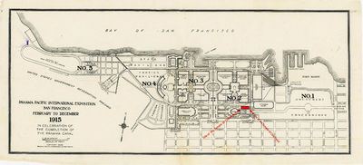 San Francisco: Temple of Childhood, 1914. General wear. There is a small tear on the map at the fold...