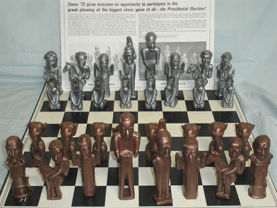 The original and unusual chessmen for Chess '72 were designed and sculpted by Alexander Silveri of G...