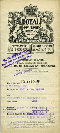 The Royal Insurance Company Limited - Victoria Branch, Melbourne - policy dated 1914 for household furniture and personal property at 686 Malvern Road, Armadale