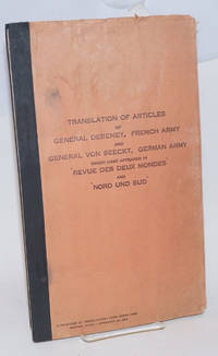 Translation of articles of General Debeney, French army and General von Seeckt, German army which have appeared in \