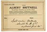image of Memo from Albert Britnell, Toronto bookseller