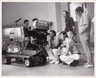 N.p.: N.p., 1972. Vintage reference photograph of director Peter Yates, cinematographer Ed Brown, an...