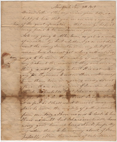 Letter from a New York physician to his father bemoaning his financial status and expressing his dre...