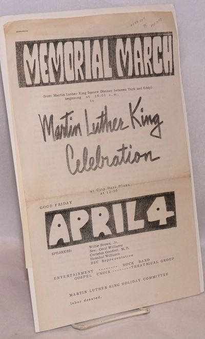 : Martin Luther King Holiday Committee, 1969. Three sheets, printed rectos only, stapled. The speake...