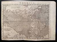 [AMERICA. Engraved map ca. 1600, North and South America with portion of Australia]. America