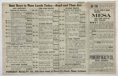 Mesa: Free Press Print, 1915. Good.. Folding brochure in eight panels on a sheet 8.25 x 13 inches, f...