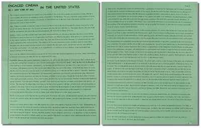 NY: Cinema Engage, nd. Paperback. Very good. Single 14 by 11 inch sheet green stock printed in black...