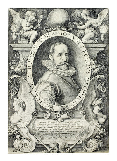 """1593. Engraving on paper 7 x 10 3/8"""", oval portrait, monogrammed on the bottom left: 'HG,' pos..."""