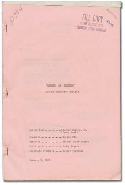 Los Angeles: Paramount Pictures, 1930. Second Draft script for the 1930 pre-Code film. Cast list wit...