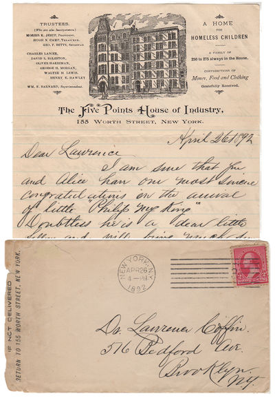 A personal letter from the Superintendent of The Five Points House of Industry Envelope or Cover. Ve...