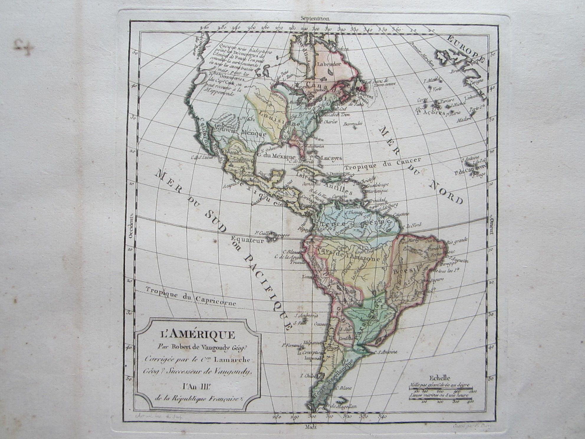 L'Amerique par Robert de Vaugondy Géog? Corrigée par le Cen. Lamarche Géog? Successeur de Vaugondy l'An IIIe de la Republique Française. (photo 2)