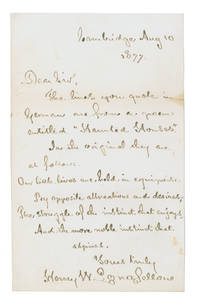 "Autograph Letter, signed (""Henry W. Longfellow""), containing a stanza from his ""Haunted Houses"""