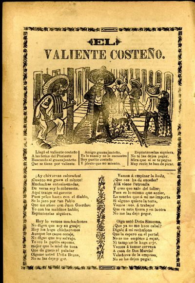 Mexico: A. V. Arroyo, 1913. Unbound. Very Good Condition. Broadside corrido, slight soiling, usual b...