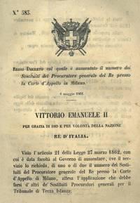 che aumenta il numero dei Sostituti Procuratori del Re presso la Corte d\'Appello di Milano.